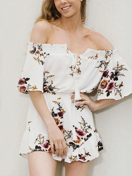 White Fashion Off Shoulder Self-tie Random Floral Print Playsuit