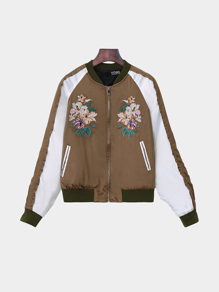 Brown Splicing Bomber Jacket With Embroidery Pattern