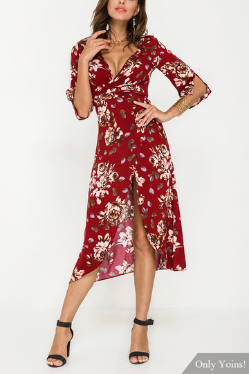 Plunge Split Sleeves Wrap Front Floral Print Maxi Dress with Belt