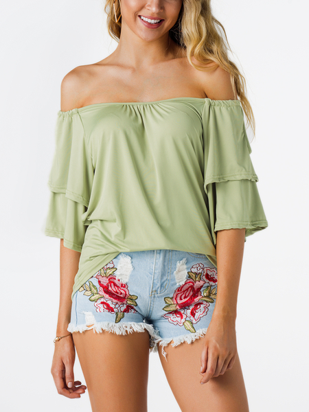 Army Green Tiered Design Off The Shoulder Half Sleeves Summer Top