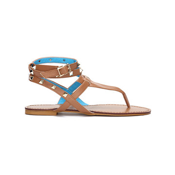 Light Brown Leather Look Wrap Strap Studded Flat Thong Sandals