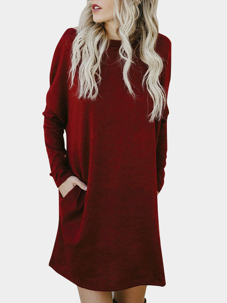 Burgundy Side Pockets One Shoulder Mini Dress