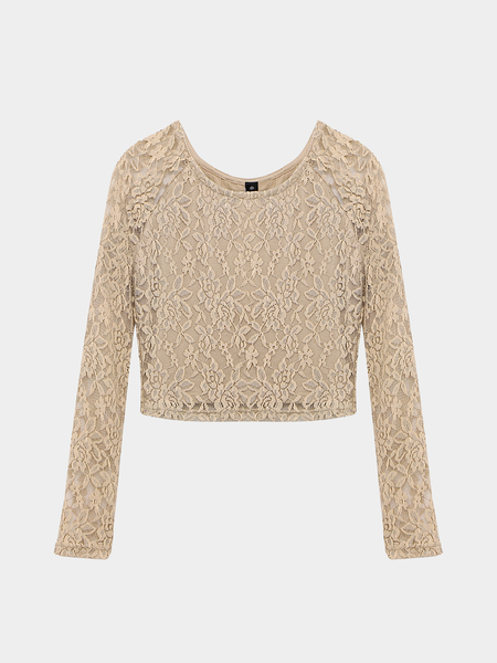 Crochet Floral Lace Crop Top in Apricot