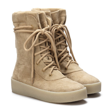 Apricot Chunky Sole Short Boots with Lace-up Design
