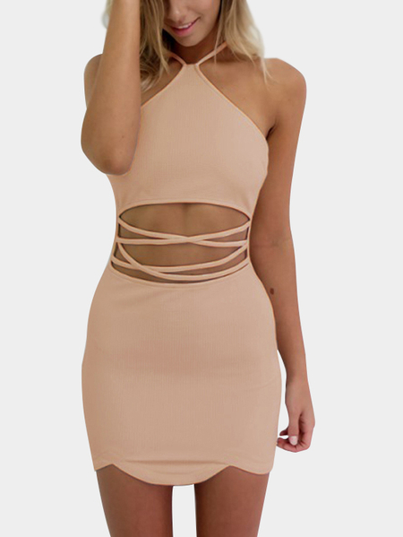 Pink Sexy Halter Neck & Cutout Waist Mini Dress