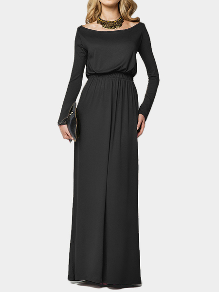 Black Scoop Neck Elastic Waist Maxi Dress