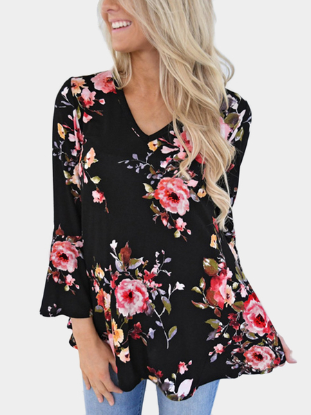 Black Floral Print V-neck Long Bell Sleeve Blouse