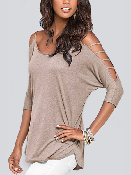 Grey Cold Shoulder 3/4 Length Sleeve T-shirt with Strappy Detail