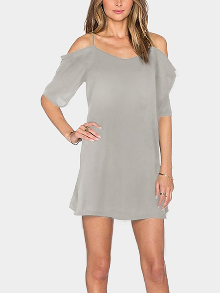 Grey Cold Shoulder Mini Dress