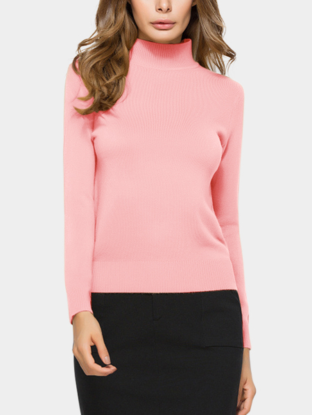 Pink Perkins Collar Knitted Thin Jumper