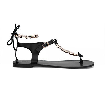 Black Beaded T-bar Shape Lace-up Flat Sandals