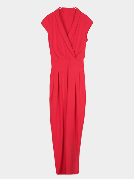 V-neck Cross Front Jumsuit in Red