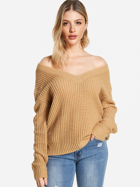 Khaki Cut Out Back Off Shoulder Long Sleeves Sweater