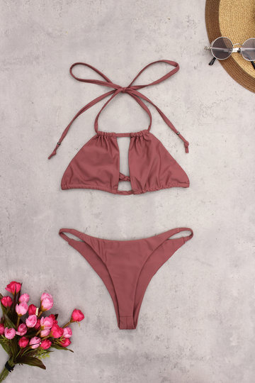 Dark Coral Sexy Double Drawstring Bikini Suit