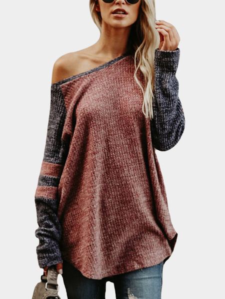 Rust  Knitting Design Stripe Round Neck Long Sleeves T-shirts