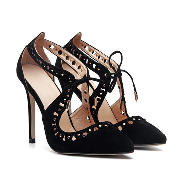 Black Suede Pointed Toe Lace-up High Heels