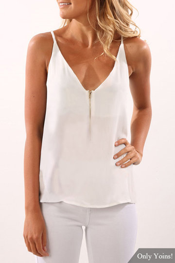 White Cami With Zipper Design