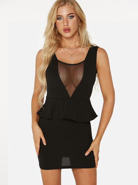 Black Backless Design Plain V-neck Sleeveless Mini Dress