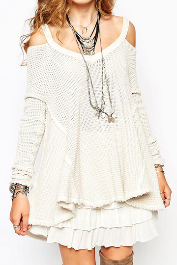 Cold Shoulder Ribbed Jumper