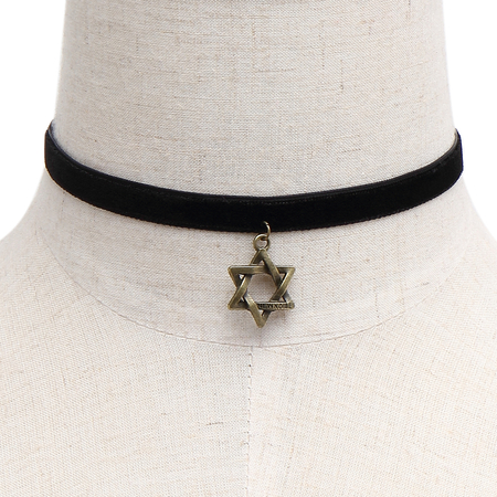 Vintage Pentacle Pendant Velvet Ribbon Choker Necklace