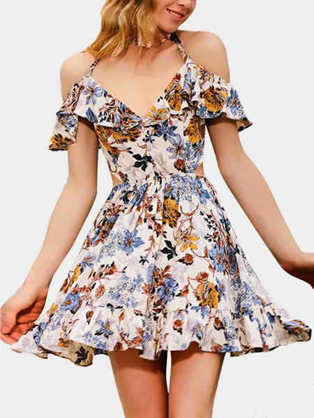Random Floral Print V-neckline Ruffled Design Mini Dress