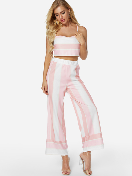 Pink Stripe Spaghetti Tube Top High-waist Two-piece Outfit