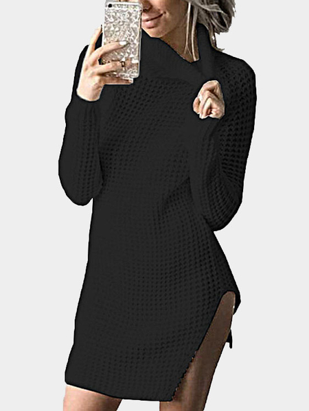 Black Knitting High Neck Splited Hem Sweater Dresses