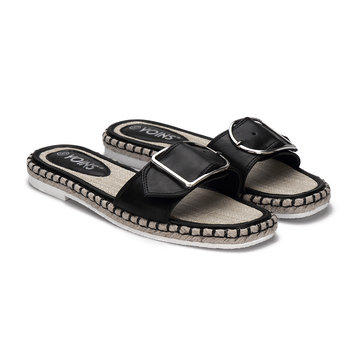 Black One Strap Front With Pin Buckle Woven Flatform Sole Slippers