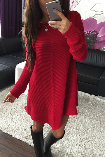 Red Woolen Strick-Langarm-Kleid