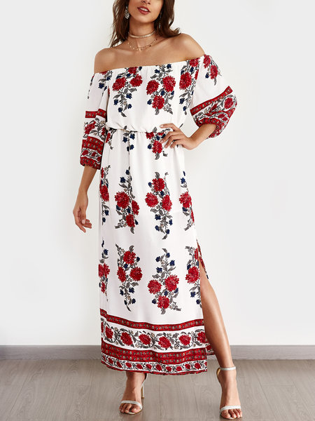 Sexy Off Shoulder Random Floral Print Dress with Side Slit