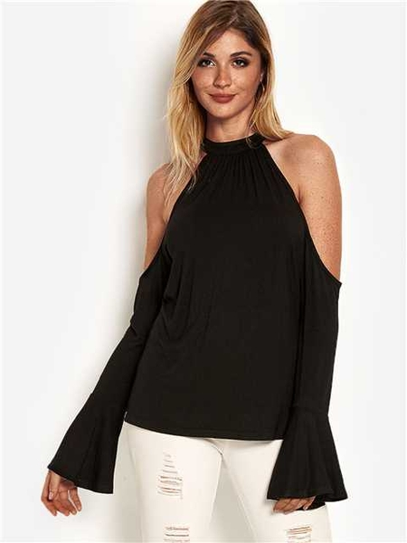 Black Cut Out Cold Shoulder Long Bell Sleeves Top
