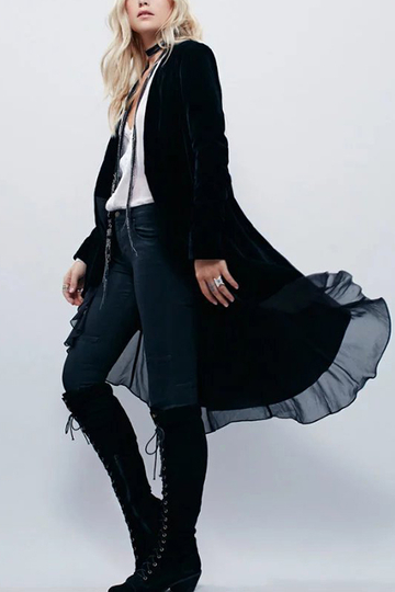 Black Chiffon Ruffles Details Layered Trench Coats