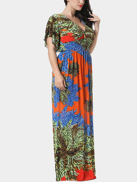 Plus Size Orange Floral Printing Plunge V-neck Maxi Dress