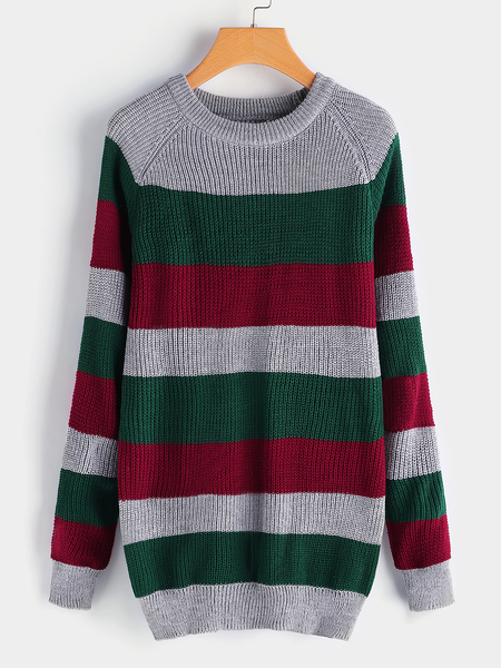 Green Stripe Details Crew Neck Long Sleeves Sweaters