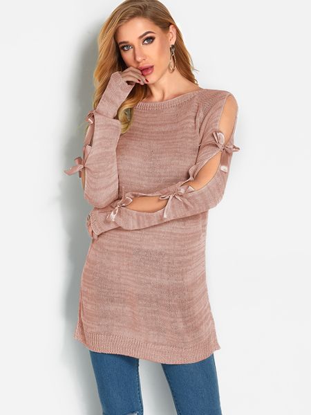 Pink Bowknot Design Round Neck Long Sleeves Jumper