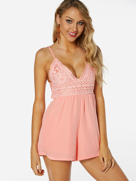 Pink Backless Design Plain V-neck Sleeveless Stretchy Waist Playsuits