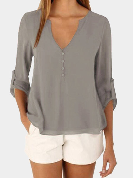 Manga Larga Gris V-cuello Irregular Hem Top