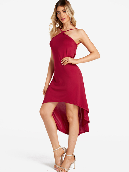 Burgundy Backless Design Halter Sleeveless Sexy Dress