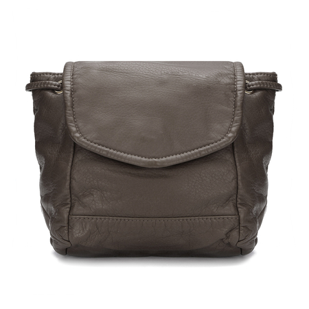 Khaki Leather-Look Backpack
