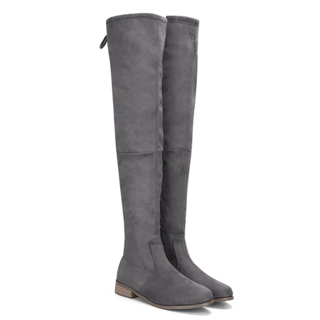Grey Suede Lace-up Back Knee High Boots
