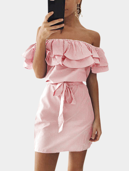 Light Pink Off Shoulder Stripe Pattern Flouncy Details Dress