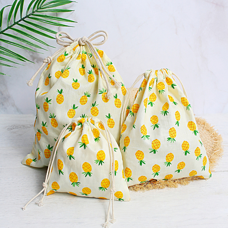 Ensemble de sac à cordon pinapple jaune