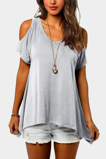 Cold Shoulder Irregular Hem T-shirts in Light Grey