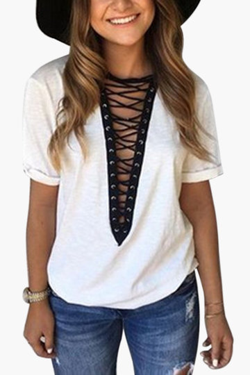 White Deep V-neck Lace-up Front T-shirts