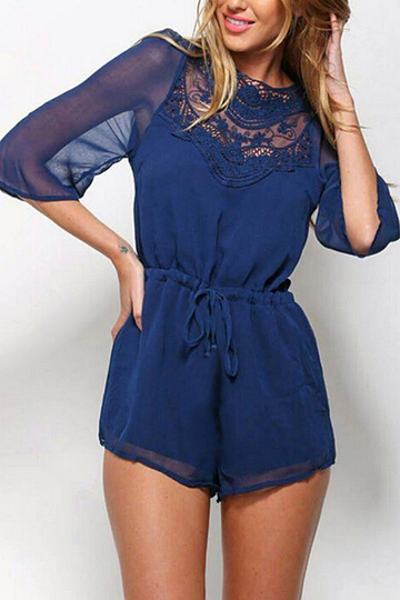 Blue Sheer Sleeved Open Back Playsuit