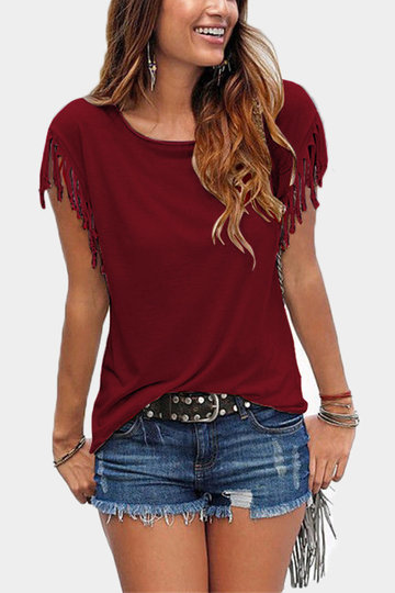 Red Scoop Neck T-shirt With Tassel Details