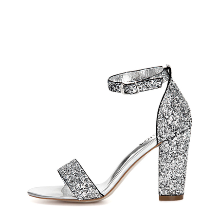 Sliver Sequin Ankle Strap High Heeled Sandals