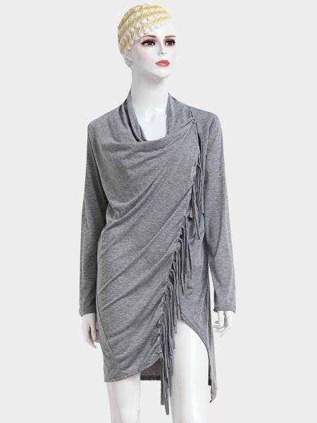 Grey Top with Tassel Details and Irregular Hem