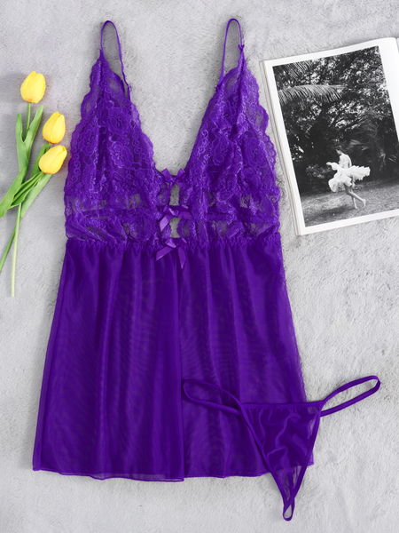 Purple Sexy Cross Strap Lace Detail Pajamas with T-Back