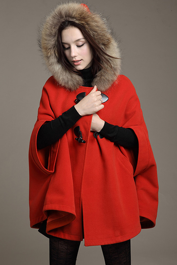 Fur Hooded Cape in Red